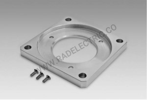 Adaptor plate for clamping flange into square flange